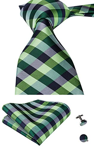 Plaid Silk Necktie (Hi-Tie Men's Green Plaid Jacquard Woven Tie Necktie Hanky Cufflinks Set)