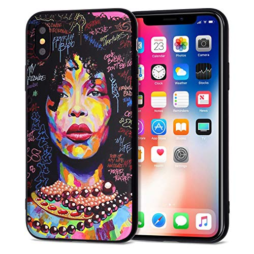 iPhone XR Case African American Afro Girls Women Slim Fit Shockproof Bumper Cell Phone Accessories Thin Soft Black TPU Protective Apple iPhone XR Cases (01)