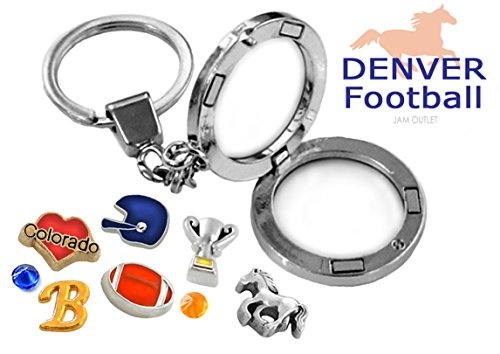 Gold Denver Broncos Charm (DENVER Football Memory Locket Key Chain Set w/ Floating Fan Charms & Gift Box)