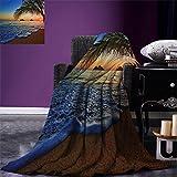 smallbeefly Hawaiian Decor Digital Printing Blanket Pacific Sunrise at Lanikai Beach Summer Quilt Comforter Hawaii Colorful Sky Wavy Ocean Surface Scene