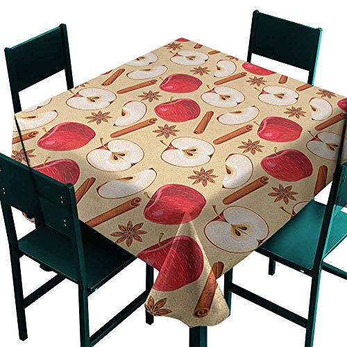 Sunnyhome Waterproof Table Cover Apple Quartered and Halved Apples with Cinnamon Sticks and Star Anise Diet Recipe High-end Durable Creative Home 36x36 Inch Beige Cinnamon Red ()
