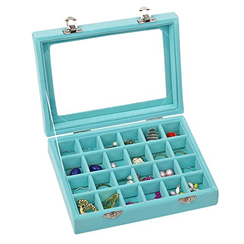 Ivosmart Velvet Glass Jewelry Ring Display Organiser Box Tray Holder Earrings Storage Case (Light Blue)]()