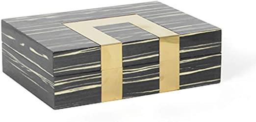 Moderno Negro Metal Madera Grano Joyero Caja Decorativa Simple Ornamento Suave Decoración: Amazon.es: Hogar