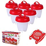 Egglettes Egg Cooker Boil & Antibacterial Non Sticky Silicon - FREE GIFT Egg Cutter Slicing - Eggies AS SEEN ON TV (6 pack +1 cutter slicer)