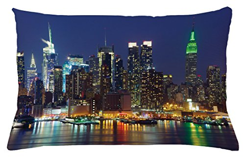 Nyc Throw Pillow (New York Throw Pillow Cushion Cover by Ambesonne, NYC Midtown Skyline in Evening Skyscrapers Amazing Metropolis City States Photo, Decorative Accent Pillow Case, 26 W X 16 L Inches, Royal Blue)