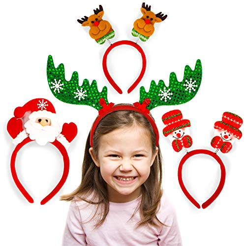 Toys World Shop 4 Christmas Headbands Pack Cute Christmas Head Wear Funny Reindeer Antler Happy Santa Claus Hair Band Holiday Headbands Xmas Party Decoration Accessory Christmas Costume ()