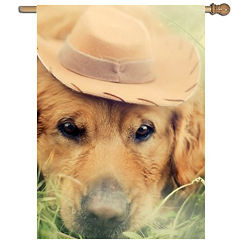 Welcome Floral Garden Flag One-sided Golden Retriever With A