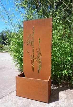 Garten Sichtschutz Aus Metall Rost Gartenzaun Mit Pflanzschale