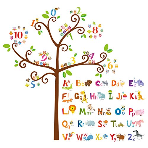 - Decowall DA-1503 Animal Alphabet ABC and Owl Numbers Tree Kids Wall Decals Wall Stickers Peel and Stick Removable Wall Stickers for Kids Nursery Bedroom Living Room