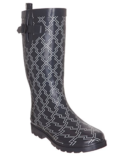 Capelli New York Diamond Geo Ladies Tall Sporty Body Rubber Rain Boot Grey Combo AVsGh