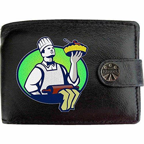 Chef Cooks Cooking Chefköche Kochen Klassek Herren Geldbörse Portemonnaie Brieftasche aus echtem Leder schwarz Geschenk Präsent mit Metall Box