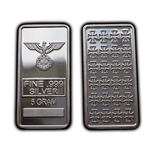 Bullion Bar Silver - Iron Cross Pure Silver Bar 5 gram Bullion 1/6 Oz .999 Purity Fine WW2 Rare Gift