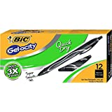 BIC RGLCG11-BLK Gel-ocity Quick Dry Retractable Gel Pen, Medium Point (0.7mm), Black, 12-Count