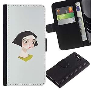 iBinBang / Flip Funda de Cuero Case Cover - Muchacha Triste lindo del gris minimalista - Sony Xperia Z3 Compact