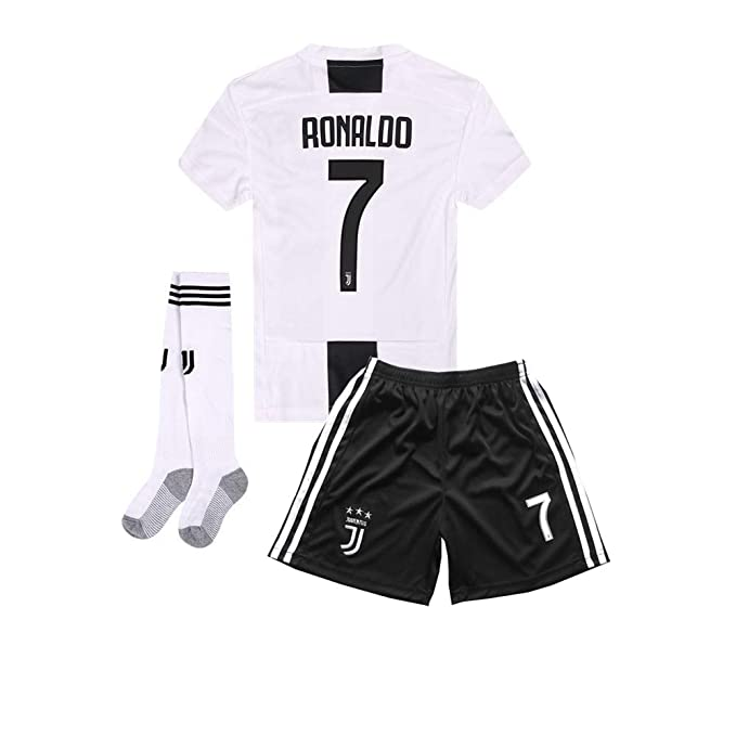 the latest 0d2b4 8a38a 2018-2019 Home C Ronaldo #7 Juventus Kids Or Youth Soccer Jersey & Shorts &  Socks White
