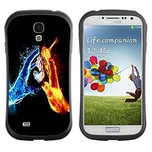 Paccase / Suave TPU GEL Caso Carcasa de Protección Funda para - Water & Fire Elements - Samsung Galaxy S4 I9500