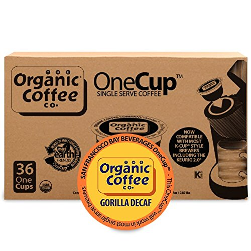 Organic Coffee Co. OneCup Gorilla DECAF (36 Count) Single Serve Coffee Compatible with Keurig K-cup Brewers USDA Organic Single Serve Coffee Pods, Compatible with Cuisinart, Bunn single serve brewers