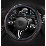 Dee-Type Leather Car Steering Wheel Cover Universal 15 inch Black & Red