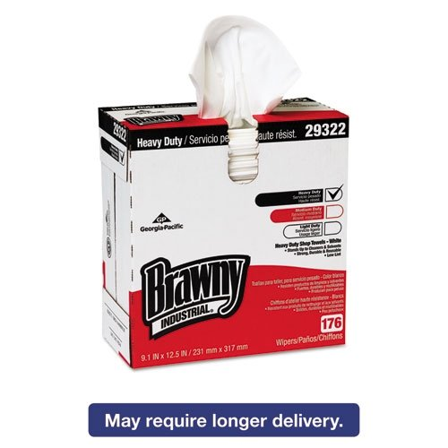Georgia-Pacific Brawny Industrial Shop Towel Heavy-Duty White 9.1 in. X 12.5 in. 10 Boxes Of176 Count Per Case-2462634