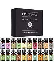 Lagunamoon eteriska oljor för diffusor, aromaterapi oljor, eteriska oljor presentset Top 20 Pure bioolja lavendel, rökelse, pepparmynta, rosmarin, sandelträ, citron, vanilj, jasmin, citrongräs, eukalyptus, bergamott