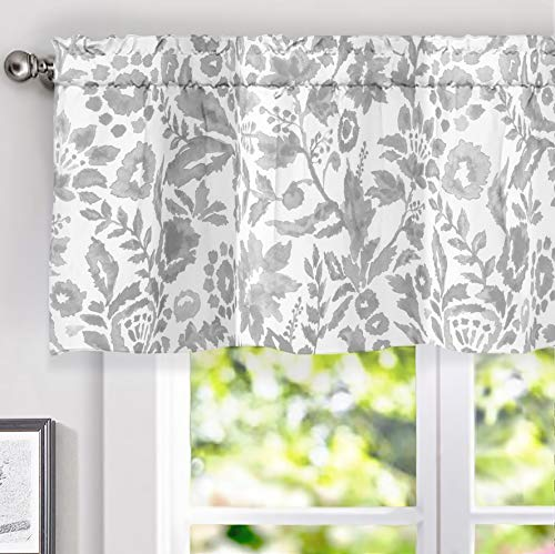 DriftAway Julia Watercolor Blooming Flower Floral Lined Thermal Insulated Window Curtain Valance Rod Pocket 52 Inch by 18 Inch Plus 2 Inch Header Gray 1 Pack (Kitchen Valance Grey)