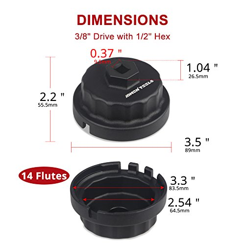 JDMON Oil Filter Wrench for 2.5 L to 5.7 L Engines Lexus Toyota Lexus Highlander Camry RAV4 and More –Fit 64mm 14 Flutes Cartridge Style Oil Filter Housing with A Pair of Gloves by JDMON (Image #2)