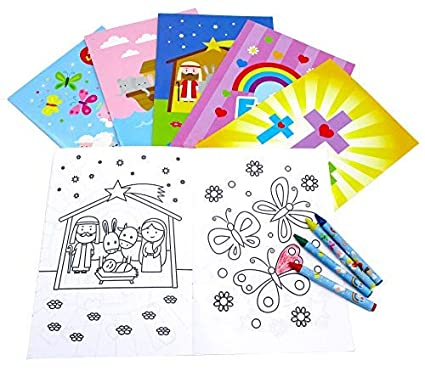 Religious Coloring Books With Crayons Party Favors Set Of 12