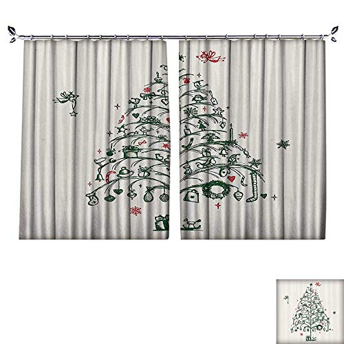DESPKON Curtain Outer Curtain Fairies with Wands and Chirstmas Tree Hand Drawn Style with Wreath Suitable for Living Room. W108 x L96