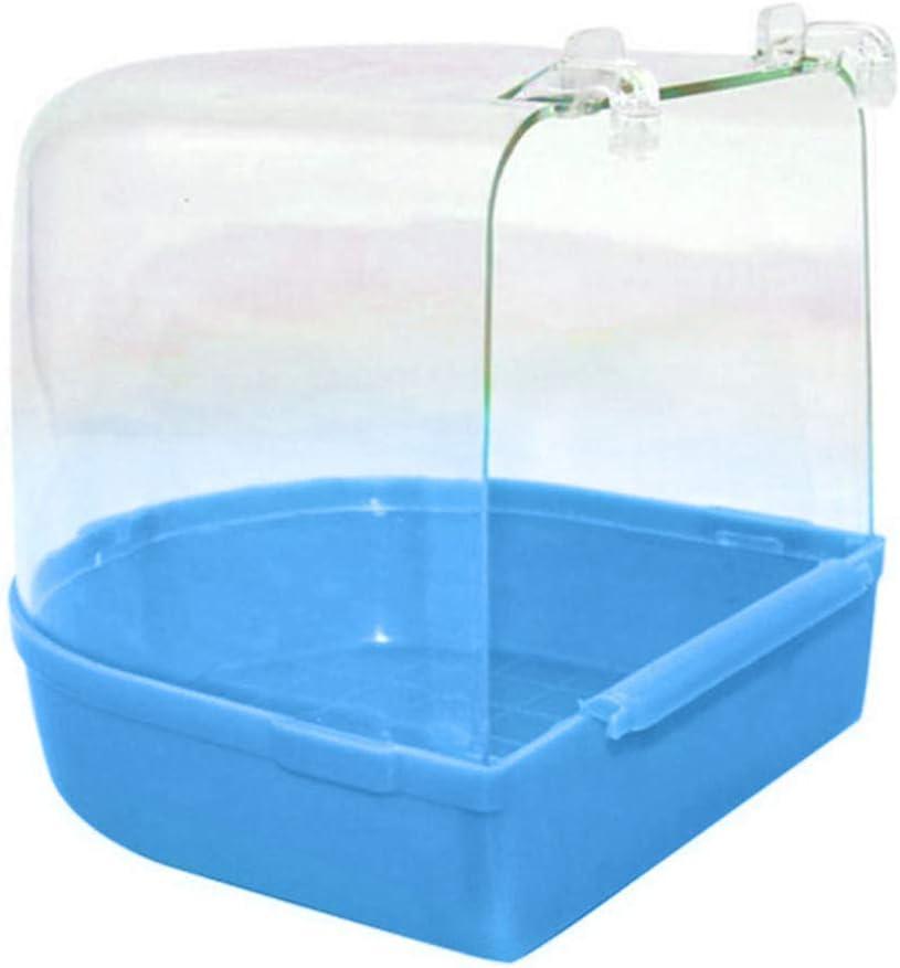 Honey MoMo - Bañera para pájaros, Accesorios para pájaros y Loros, Transparente, para bañera, bañera, Ducha, Jaula para Colgar, Color Azul
