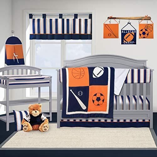 Pam Grace Creations Sports Crib Bedding Set, Navy Blue/Orange/White