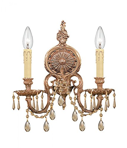 Olde Brass/Golden Teak Swarovski Strass Baroque 2 Light Cast Brass Double Wall Sconce with Golden Teak Swarovski Strass Crystals