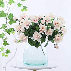 DecoForU 2 Packs Artificial Flowers Gardenia Silk Flowers Arrangements for Home Wedding Party Decoration (Pink) 1