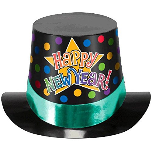 amscan New Year Multicolored Printed Paper Top Hat | Party Accessory - Happy New Year Top Hat
