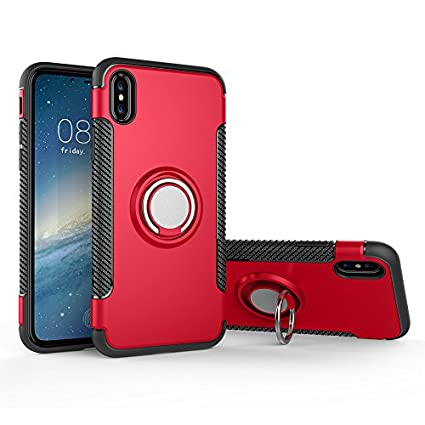 Ring Holder Kickstand Case for iPhone XS Max 6.5 inch,Shinyzone [Carbon Fiber Non Slip] [Compatible with Magnetic Car Mount] Dual Layer TPU + PC Design Protective Cover-Silver