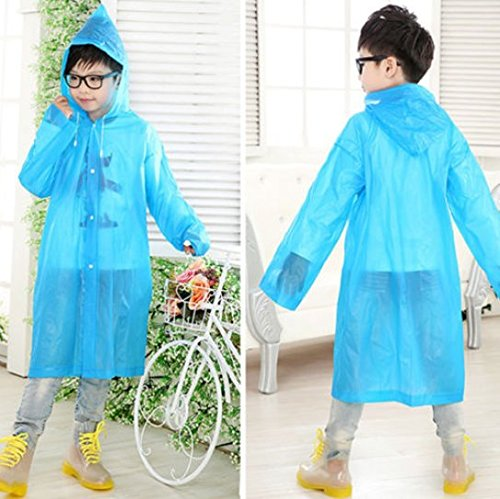 Tpingfe Boys Girl Children Hooded Jacket Rainsuit Rain Poncho Raincoat Long Rainwear Fashionable Plain Environmentally Friendly