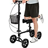 Giantex Knee Walker Scooter All Terrain Steerable Foldable, for Foot Ankle Injuries Medical Surgery Dual Brakes Adjustable Tall Foam Pad with Steel Basket, Aluminum Knee Walkers Scooters, Black