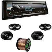 Kenwood KDC-BT858U CD Player Bluetooth USB SiriusXM Stereo Receiver With Pioneer TS-G6845R 250W 6 Inch x 8 Inch 2-Way Coaxial Car Audio Speakers (2-Pairs) & Enrock Audio 16-Gauge 50 Foot Speaker Wire