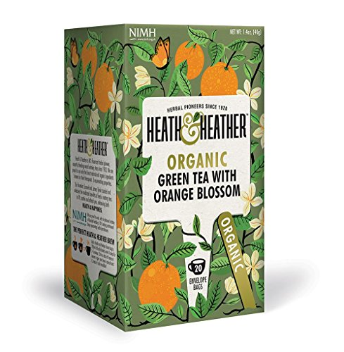 (Organic Green Tea with Orange Blossom| 20 bags per Pack| 100% USDA Certified Organic| Natural Orange Blossom Flavoring With No Additives/ Sugar| Vegan, Vegetarian, Allergen-Free, Kosher Chai)