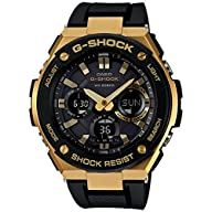 Casio G-Shock G-STEEL Series Solar Powered World Time Analog Digital Gold Black Resin Watch,…