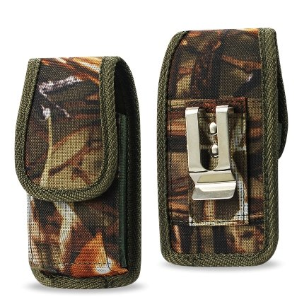 Universal Rugged Heavy Duty Nylon Pouch for Palm Treo 650/680/Motorola Brute i680/Nextel Boost i570/i730/i560/i930/i90/i95/VA 76A/Tundra/ Large Size Flip Phones (ARMY CAMOUFLAGE GREEN)