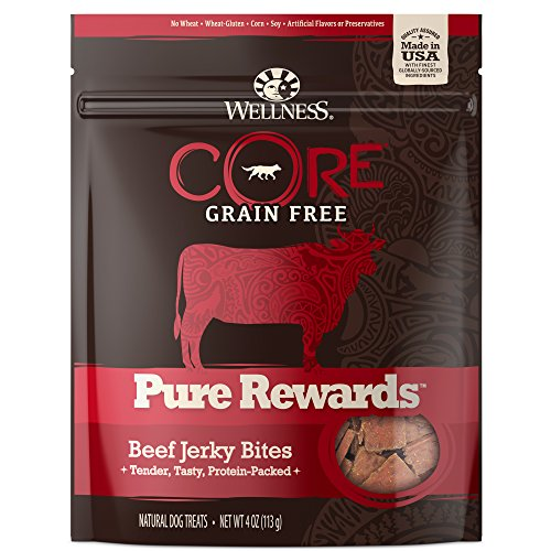 Wellness Core Pure Rewards Natural Grain Free Dog Treats, Soft Beef Jerky Bites, 4-Ounce Bag