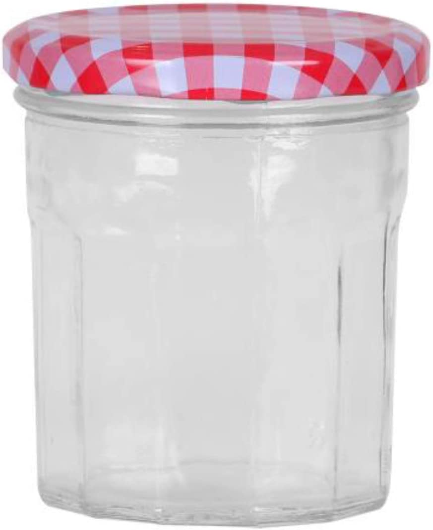 300ml Screw Top Red Gingham Lids 300ml Marmalade Jam Chutney Jars MUQU/® Set of 6 Jam Jars with 40 Chalkboard Labels and Chalk Pen Airtight Pickle Jars Wide Mouth Glass Preserve Pots