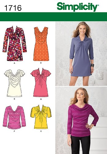 Simplicity Pattern 1716 Misses Knit Mini-Dress, Tunic and Top, with Front Variations Sizes 12-14-16-18-20 (Front Dress Pattern)