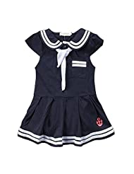 Baby Girls Sailor Style Dress Lapel Navy Cotton Dress With Big Bow Tie