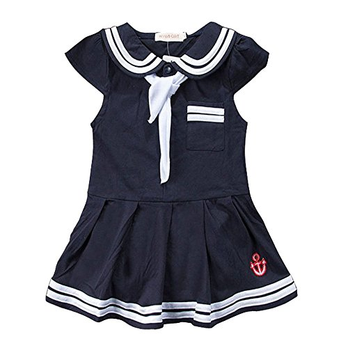 Baby Girls Sailor Style Dress Lapel Navy Cotton Dress With Big Bow Tie (Bowser Fancy Dress)