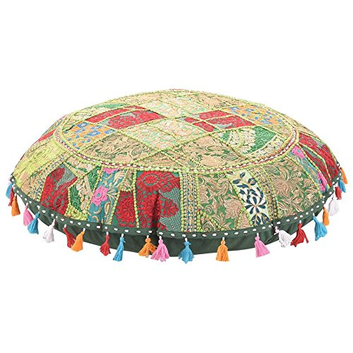 Bohemian Patchwork Round Floor Cushion Cover Patchwork Round Pouf,Ottaman Cover. Home Decorative Pouf Cover,Handmade Foot Stool Floor Cushion Cover Living Room Pouffe Cover Cotton 32'' MyCrafts FPB00001