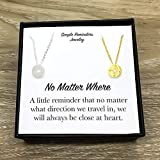 Best Friends Necklaces No Matter Where Stainless Steel Compass Pendant Friendship Set for 2