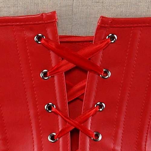 ZAMME Corsé de Steampunk de la falda del gótico de las mujeres de Overbust de la cintura Bustiers de la cintura Rojo 1