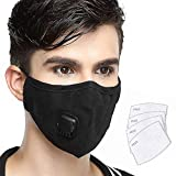 Lyanty Anti Pollution Mask Military Grade N99 Mask Washable Cotton Mouth Masks With Valve Replaceable Filter (One Mask + 4 filters)
