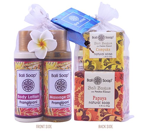 Body Treatment Set - Bali Soap - All Natural Bath and Body Treatment for Special Moment - Perfect Gift Set for Women, 4 pcs (Frangipani/Plumeria, Champaca/Tropical Magnolia & Papaya)